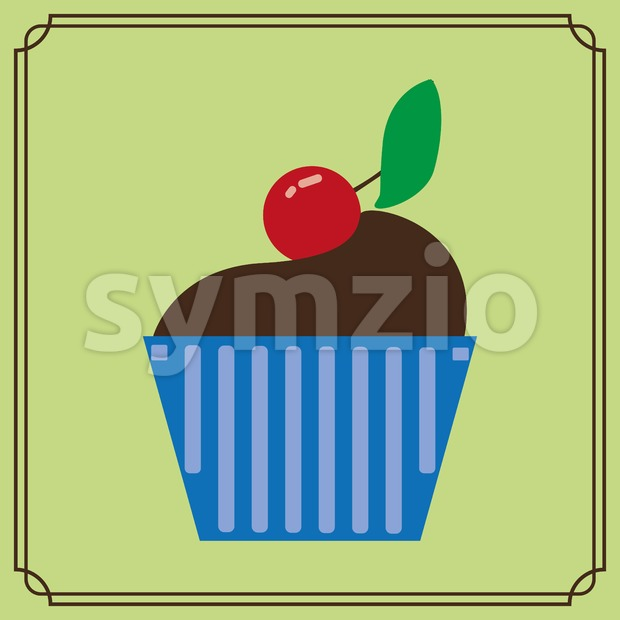 Candy card with a big chocolate cream cake, a red cherry with green leaf on top, over a green background with frames. Digital vector image. Stock Vector
