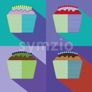 Sweets cards set with cream cakes and berries. Digital vector image. Stock Vector