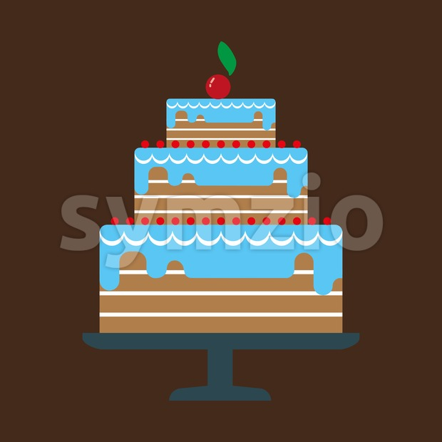 Card with a big chocolate cream layered cake, a red cherry with green leaf on top, over a brown background. Digital vector image. Stock Vector