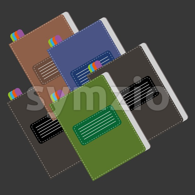 A set of colored writing notebooks card with colored marks, over a silver background, digital vector image. Stock Vector
