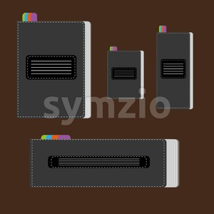 A set of silver writing notebooks of different size with colored marks, over a brown background, digital vector image. Stock Vector