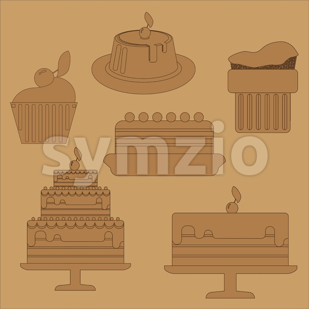 Card with six big cream layered cakes over a brown background, in black outline style. Digital vector image.
