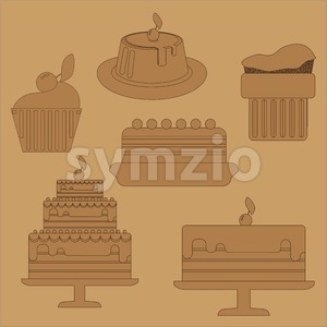 Card with six big cream layered cakes over a brown background, in black outline style. Digital vector image. Stock Vector