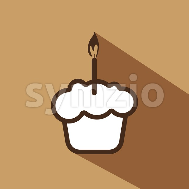 Card with a cream cake with a burning candle over a brown background with shadow, in outline style. Digital vector image. Stock Vector