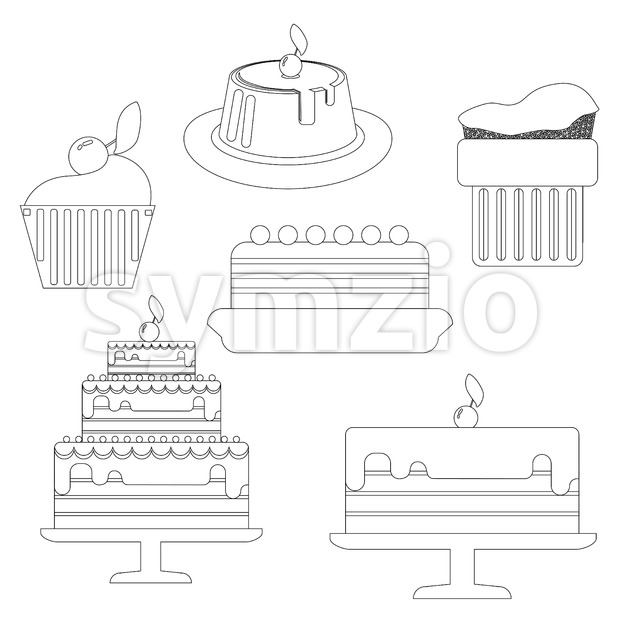 Card with six big cream layered cakes over a white background, in black outline style. Digital vector image.