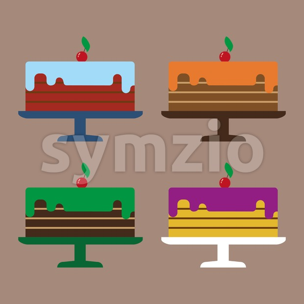 Card with four big cream layered cakes with red cherries with green leaf on top, over a brown background. Digital vector image. Stock Vector