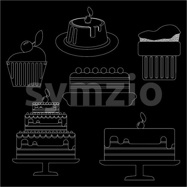 Card with six big cream layered cakes over a black background, in white outline style. Digital vector image.
