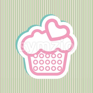 Card with a cream cake with pink and green bubles and heart shapes over a background in lines, in outline style. Digital vector image. Stock Vector