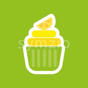 Card with a layered cream cake with a slice of yellow lemon over a green background, in outline style. Digital vector image. Stock Vector