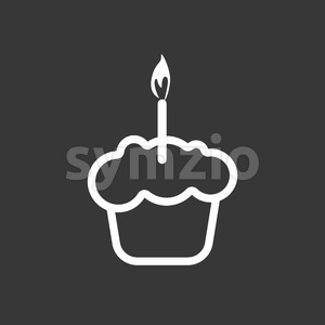 Card with a cream cake with a burning candle over a silver background, in outline style. Digital vector image. Stock Vector