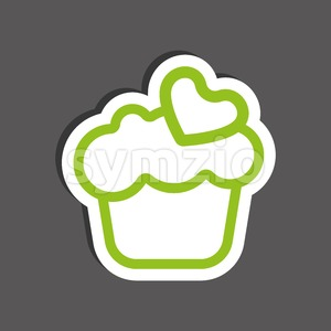 Card with a cream cake with green heart shape over a silver background, in outline style. Digital vector image. Stock Vector