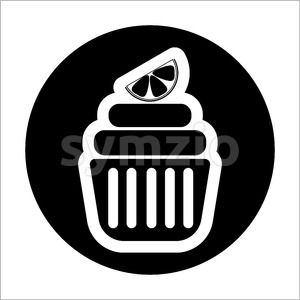 Card with a cream cake with a slice of lemon on top in a black circle over a white background, in outline style. Digital vector image. Stock Vector