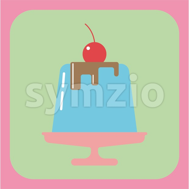 Candy card with a big blue jelly cream cake on a pink plate, a red cherry with green leaf on ...