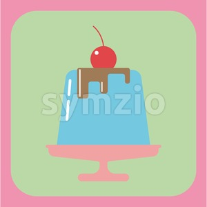 Candy card with a big blue jelly cream cake on a pink plate, a red cherry with green leaf on top, over a pink background. Digital vector image. Stock Vector