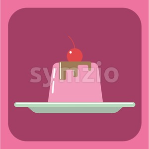 Candy card with a big jelly cream cake on a green plate, a red cherry with green leaf on top, over a pink background. Digital vector image. Stock Vector