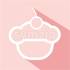 Card with a cream cake with a cherry on top with shadow over a pink background, in outline style. Digital vector image. Stock Vector