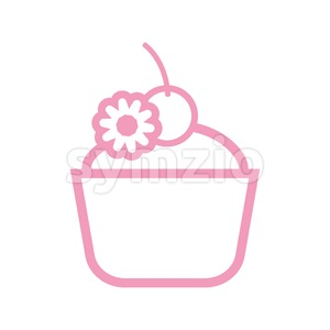 Card with a pink cream cake with a cherry on top over a white background, in outline style. Digital vector image. Stock Vector