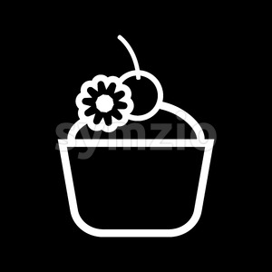 Card with a cream cake with a cherry on top over a black background, in outline style. Digital vector image. Stock Vector