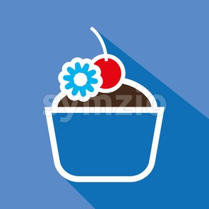 Card with a cream cake with a cherry on top with shadow over a blue background, in outline style. Digital vector image. Stock Vector