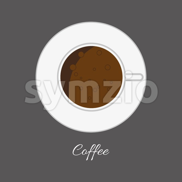 Top view of a white cup of hot brown coffe with foam and bubbles in outlines, over a silver background, ...