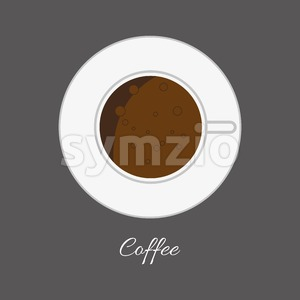 Top view of a white cup of hot brown coffe with foam and bubbles in outlines, over a silver background, digital vector image Stock Vector