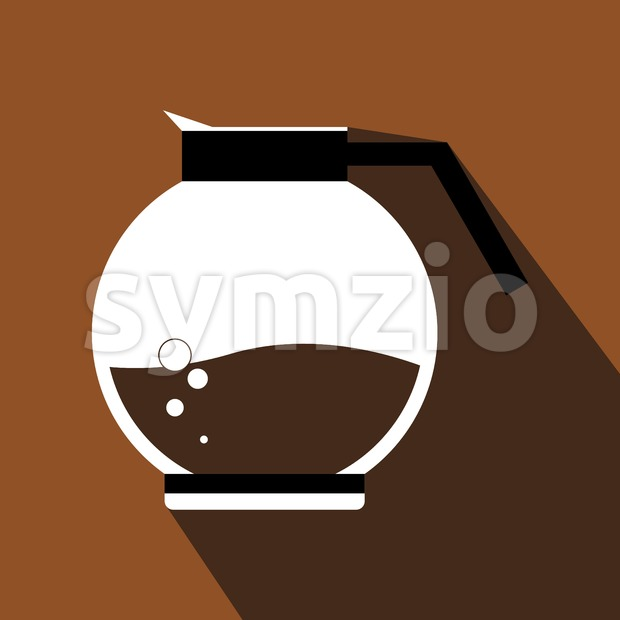 A white jar of hot coffee with bubbles, in outlines, over a brown background with dots, digital vector image Stock Vector
