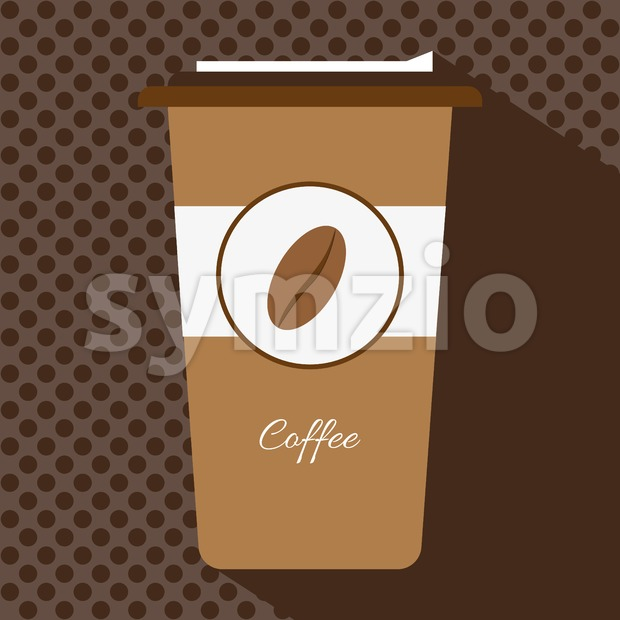A brown cup of hot coffee with a cap and the logo of a coffee bean, in outlines, over a ...