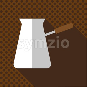 A white jug of hot coffee with a handle and shadow, in outlines, over a brown background with dots, digital vector image Stock Vector