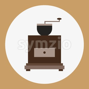 A brown old coffee mill, in outlines, over a brown background with dots, digital vector image Stock Vector