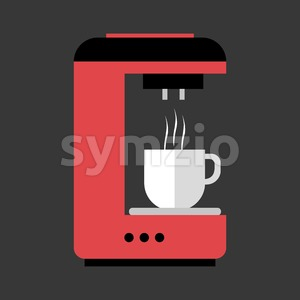 A red and black coffee machine pouring hot coffee in a white cup, in outlines, over a silver background, digital vector image Stock Vector