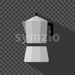 A silver coffee maker with a handle and shadow, in outlines, over a silver background with dots, digital vector image Stock Vector