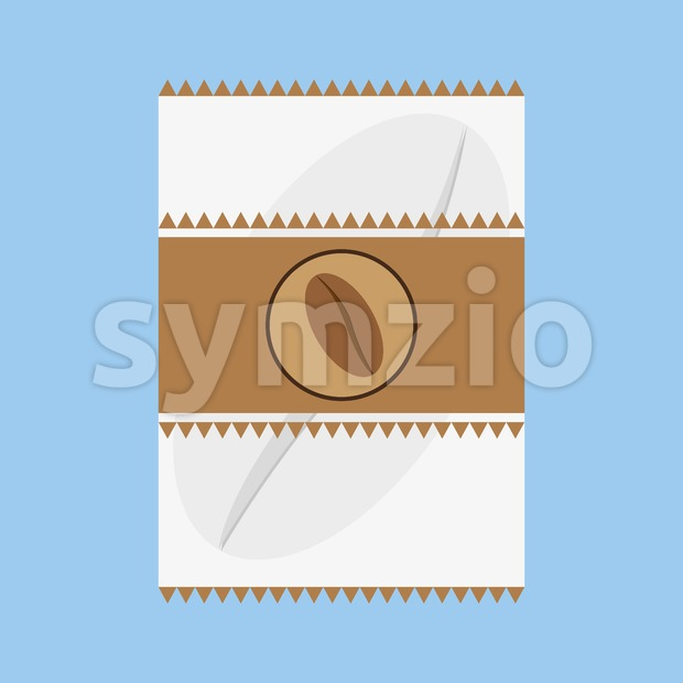 A white and brown fabric with a coffee bean logo and triangles, in outlines, over a blue background, digital vector image Stock Vector
