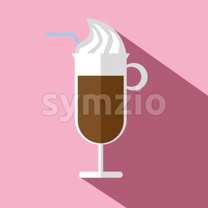 Glass of hot brown coffee with ice cream, a blue straw and shadow, in outline, over a pink background, digital vector image Stock Vector