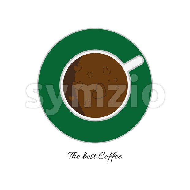 Top view of a white cup of hot brown coffee with foam and bubbles with hearts on a green plate, in outline, over a white background, digital vector Stock Vector