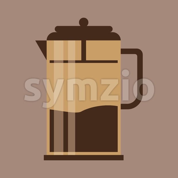 A brown jug with coffee, in outlines, over a brown background, digital vector image Stock Vector