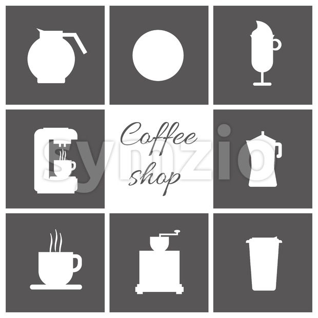 A set of white coffee items, cup of coffee with steam, coffee machine, mill, glass, jug, jar, with coffee shop inscription, in outlines, over a silver Stock Vector