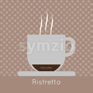 A cup of coffee with steam, pure coffee and ristretto inscriptions, in outlines, over a brown background with dots, digital vector image Stock Vector