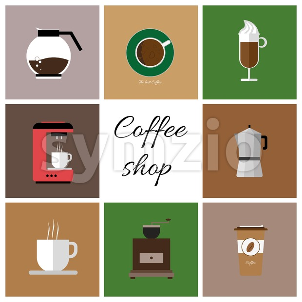 A set of colored coffee items, cup of coffee with steam, coffee machine, mill, glass, jug, jar, with coffee shop inscription, in outlines, over a Stock Vector