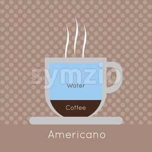A cup of coffee with steam, with water and americano inscriptions, in outlines, over a brown background with dots, digital vector image Stock Vector