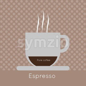 A cup of coffee with steam, with pure coffee and espresso inscriptions, in outlines, over a brown background with dots, digital vector image Stock Vector