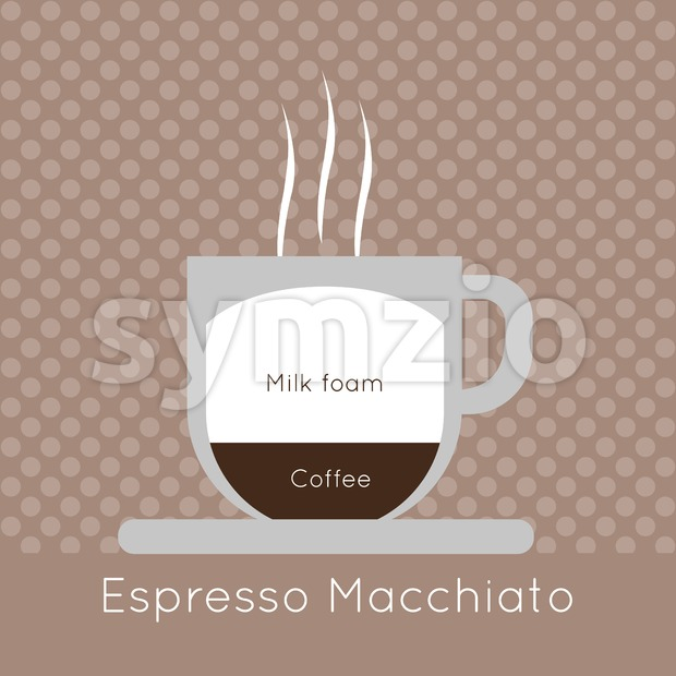 A cup of coffee with steam, with milk foam and espresso macchiato inscriptions, in outlines, over a brown background with ...