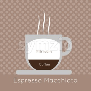 A cup of coffee with steam, with milk foam and espresso macchiato inscriptions, in outlines, over a brown background with dots, digital vector image Stock Vector