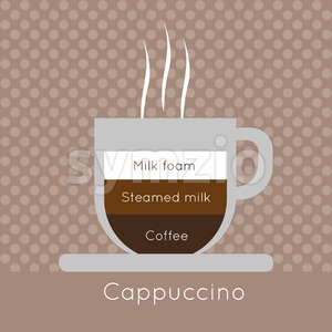A cup of coffee with steam, with milk foam, steamed milk and cappuccino inscriptions, in outlines, over a brown background with dots, digital vector Stock Vector