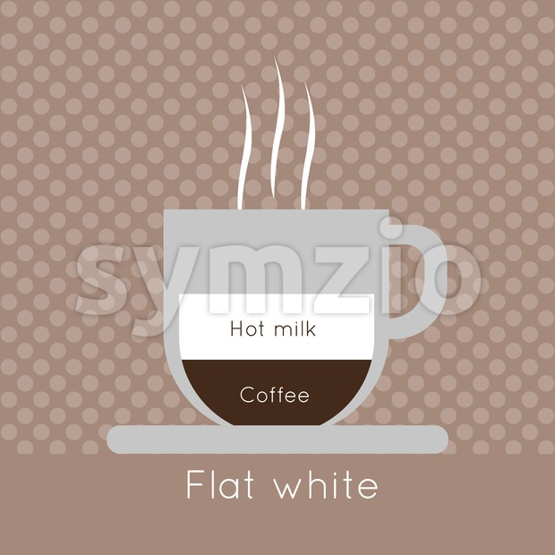 A cup of coffee with steam, with hot milk and flat white inscriptions, in outlines, over a brown background with dots, digital vector image Stock Vector