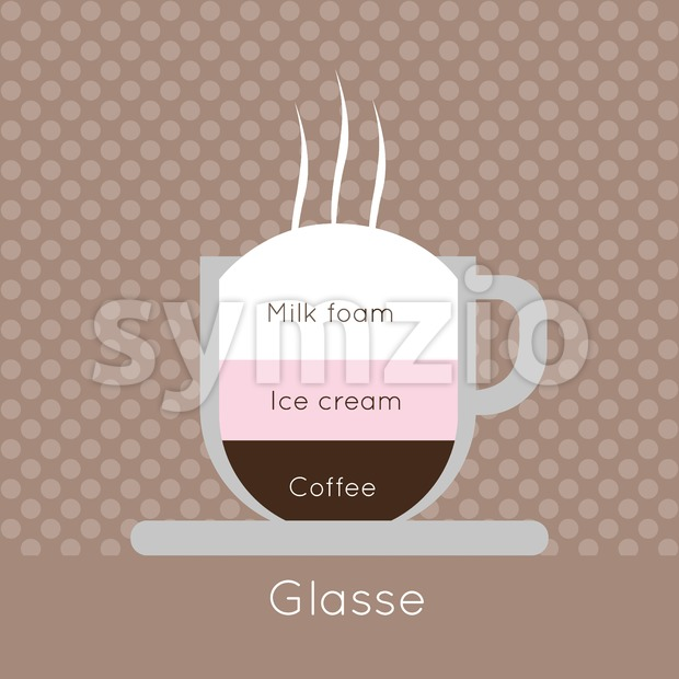 A cup of coffee with steam, with ice cream and glasse inscriptions, in outlines, over a brown background with dots, digital vector image Stock Vector