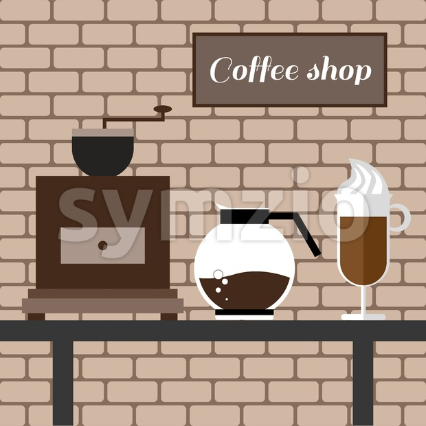 A coffee mill, a glass and a jar on a table, with coffee shop inscription, in outlines, over a brown background with bricks, digital vector image Stock Vector