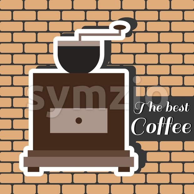 A brown coffee mill, with the best coffee inscription, in outlines, over a brown background with bricks, digital vector image
