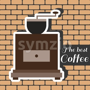 A brown coffee mill, with the best coffee inscription, in outlines, over a brown background with bricks, digital vector image Stock Vector
