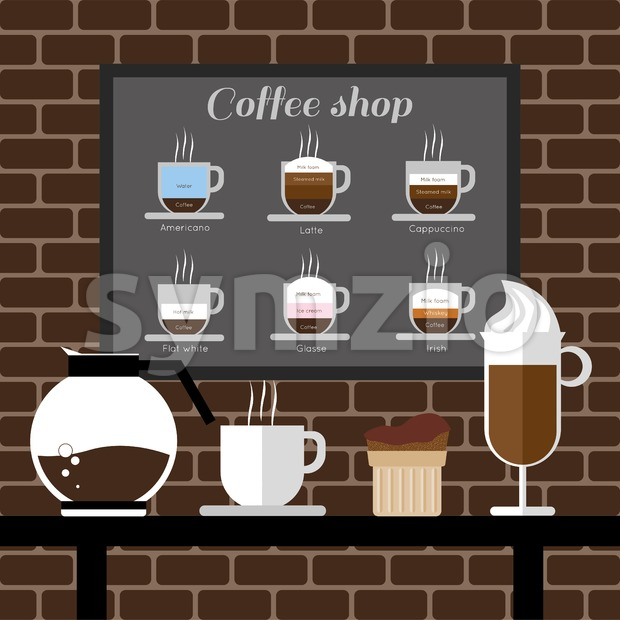 A coffee mill, a glass, a cake and a jar on a table, with coffee shop inscription, in outlines, over a brown background with bricks, digital vector Stock Vector