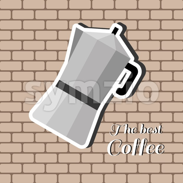 A jug of coffee, with the best coffee inscription, in outlines, over a brown background with bricks, digital vector image